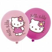 12 li Hello Kitty Baskılı Karışık Balon Doğum Günü, Helyumla Uçan