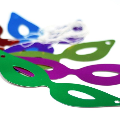 12 Adet Renkli Parlak Parti ve Yılbaşı Karton Göz Maskesi Gözlüğü