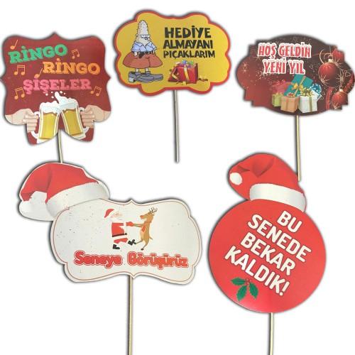5 Adet Yılbaşı Partisi Konuşma Balonu Çubukları Noel Yeni Yıl