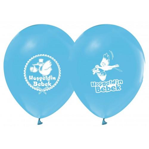 14 Adet Doğum Odası Açık Mavi Balon Hoş Geldin Bebek Baskılı