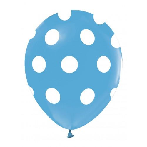 14 Adet Mavi Beyaz Puantiyeli Balon, Benekli Cinsiyet Balonları
