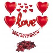 14 Şubat Sevgililer Günü Balonlu Gül Yapraklı Süsleme Hediye Seti