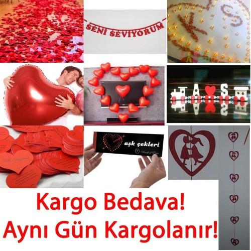 14 Şubat Sevgililer Günü Romantik İlginç Süpriz Hazırlık Süs Seti