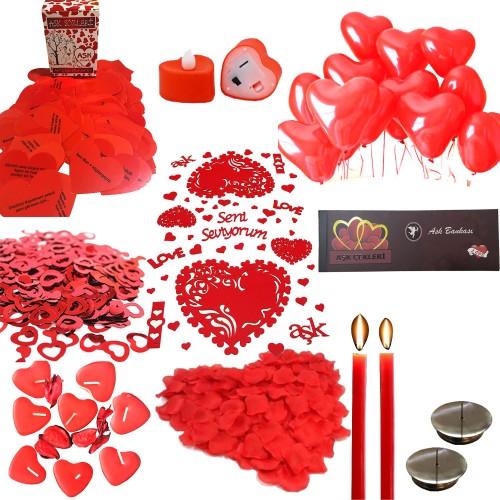 14 Şubat Sevgililer Günü Yemek Masası Süslemeleri Hazırlama Paket