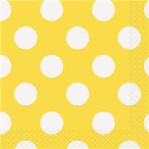 16 Adet Koyu Sarı Büyük Beyaz Puantiyeli 33x33cm Peçete