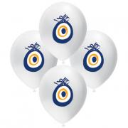 16 Adet Beyaz Nazar Boncuğu Baskılı Balon Ucuz