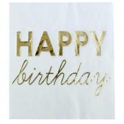 16 Adet Beyaz Üzeri Gold Happy Birthday Yazılı Peçete