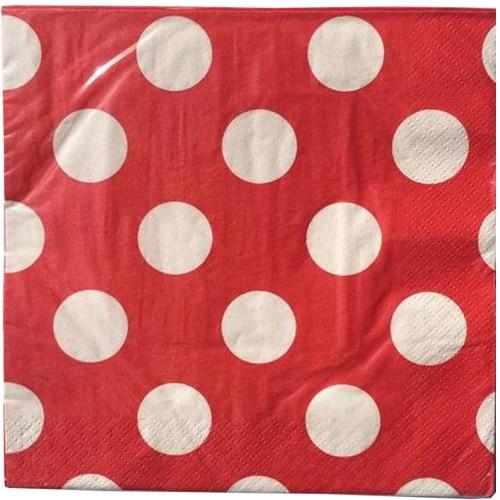 16 Adet Kırmızı Büyük Beyaz Puantiyeli 33cm x 33cm Peçete