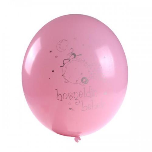 16 Adet Pembe Hastane Doğum Odası Balonu Kız (Helyumla uçan)