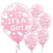 16 Adet Pembe It's a Girl Balonu Hastane Bebek Doğum Odası Kız