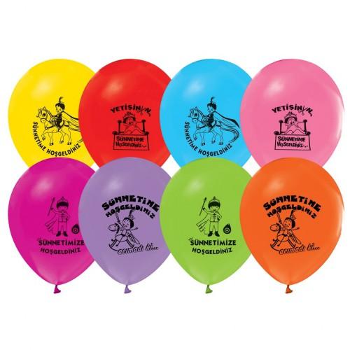 16 lı Sünnet Baskılı Karışık Renkli Balonlar, Helyumla Uçan