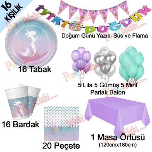 16 Kişi Deniz Kızı Ariel Temalı Doğum Günü Partisi Paketi Seti