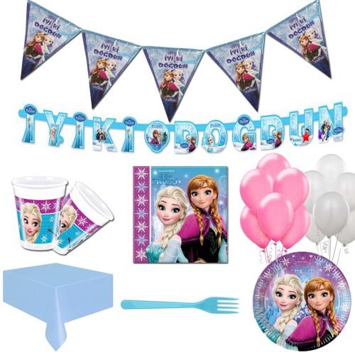 16 Kişi Elsa Frozen Parti Malzeme Paketi Süsleme Konsept Seti