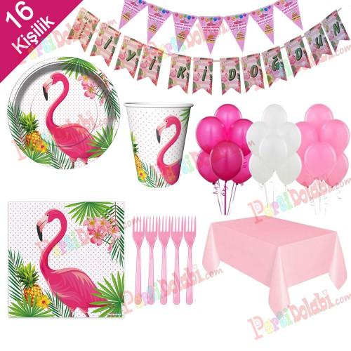 16 Kişi Flamingo Konsepti Parti Malzemeleri Doğum Günü Süs Seti