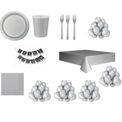 16 Kişi Gümüş Gri Doğum Günü Parti Malzemeleri Konsepti Seti Süsü