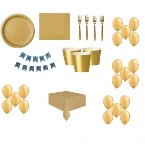 16 Kişi Gold Altın Doğum Günü Parti Malzemeleri Konsepti Seti Süs