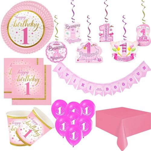 16 Kişi Lüks 1 Bir Yaş Kız Doğum günü Bebek Parti Malzemeleri Süsleri