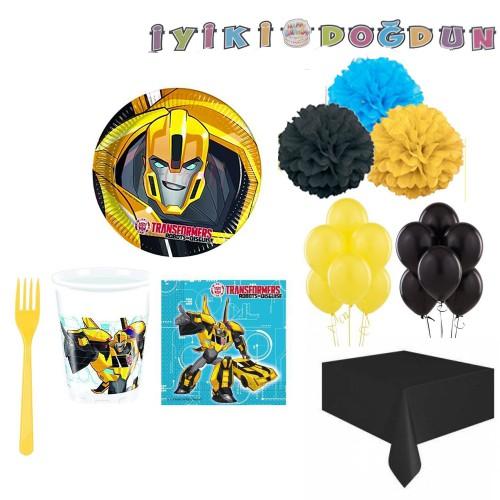 16 Kişi Transformers Doğum Günü Konsept Seti Bumblebee Ürünleri