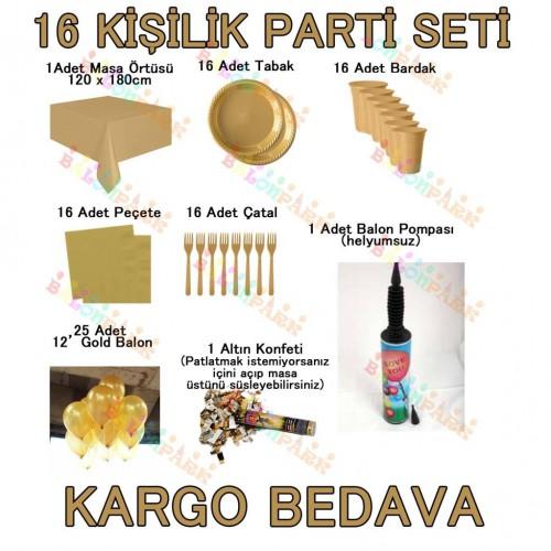 16 Kişilik 11 Parça Altın Sarısı Gold Standart Parti Süs Seti Konsept Ürünler