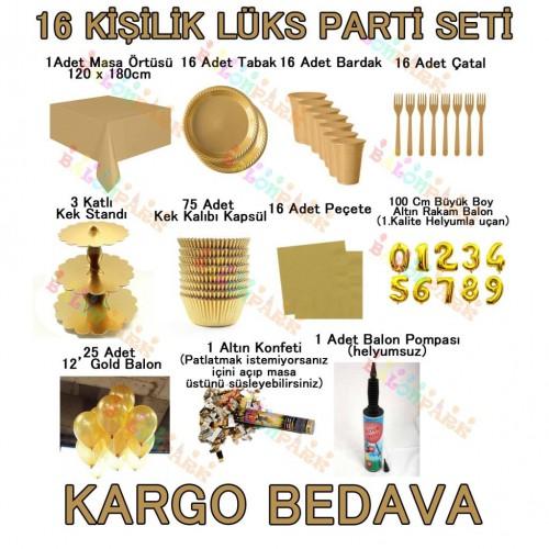 16 Kişilik Altın Sarısı Gold Lüks Parti Seti Konsept Malzemeleri