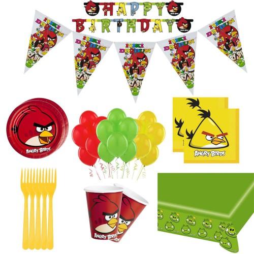 16 Kişilik Angry Birds Doğum Günü Konsepti Bardak Çatal Balon Seti