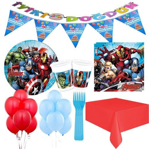 16 Kişilik Avengers Lüks Parti Seti Malzemeleri Yenilmezler Paket