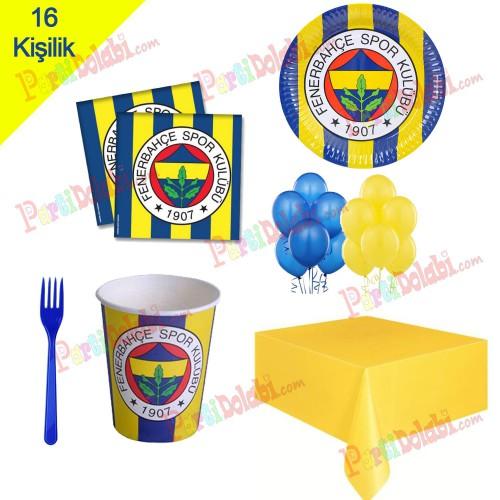 16 Kişilik Fenerbahçe Parti Süsleri, Fb Doğum Günü Konsepti Seti