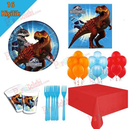 16 Kişilik Jurassic World(Park) Temalı Doğum Günü Partisi Dinazor