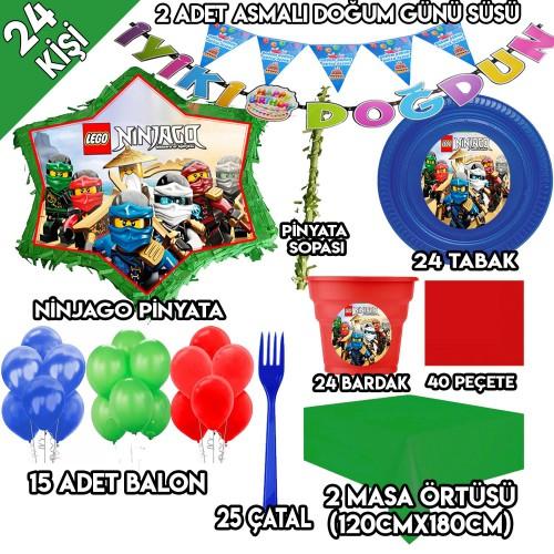 24 Kişilik Lego Ninjago Doğum Günü Parti Süsleri, Ninjago Pinyata
