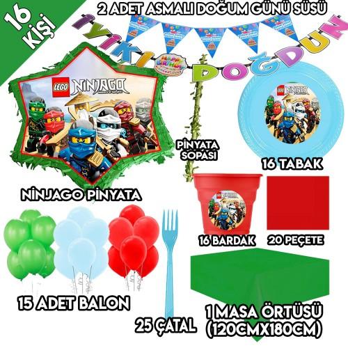 16 Kişilik Lego Ninjago Doğum Günü Parti Süsleri, Ninjago Pinyata