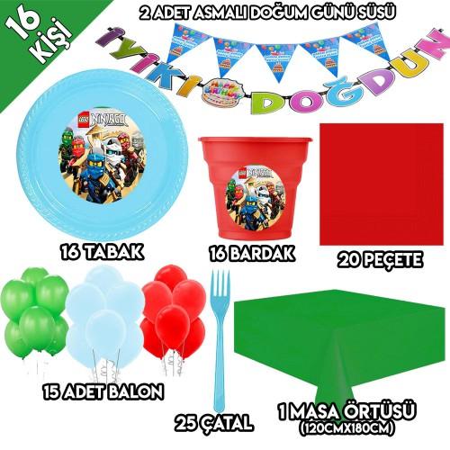 16 Kişilik Lego Ninjago Parti Süsleri, Ninjago Doğum Günü Süsleri
