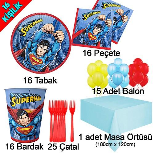16 Kişilik Superman Temalı Doğum Günü Seti, Süpermen Tabak Bardak