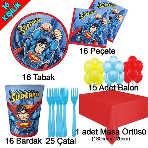 16 Kişilik Superman Temalı Doğum Günü Süsleri, Süpermen Konsepti