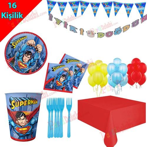 16 Kişilik Superman Temalı Doğum Günü Süsleri, Tabak Bardak Çatal