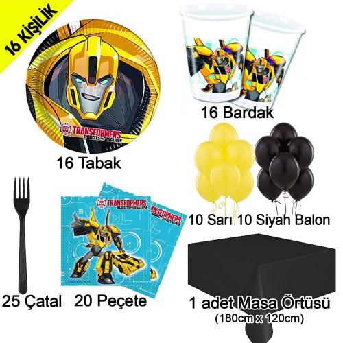 16 Kişilik Transformers Bumblebee Parti Konsepti Seti Doğum Günü