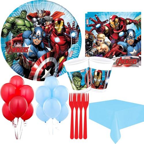 16 Kişilik Yenilmezler Parti Paketi, Avengers Tabak Bardak Çatal