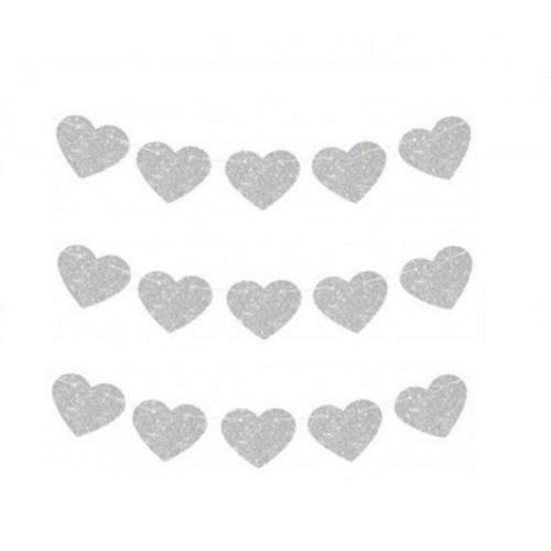 16lı Gümüş Gri-Silver Kalpli İpe Dizili Sarkıt Süs