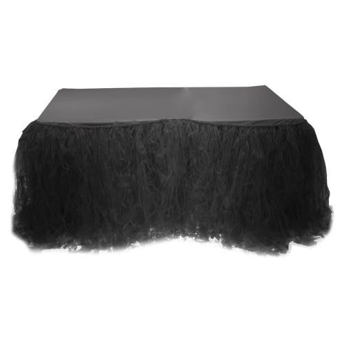 160x200cm Siyah Masa Tütü Eteği, Masa Süsleme Örtüsü İçin Tül