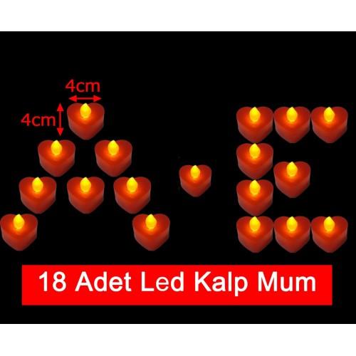18 Adet 4x4cm Işıklı Kalp Mum Görünümlü, Kırmızı Led Mum