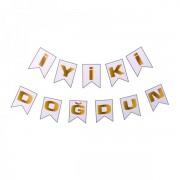180cm Gold İyiki Doğdun Yazılı Beyaz Banner Yazı Yetişkin Süsleme