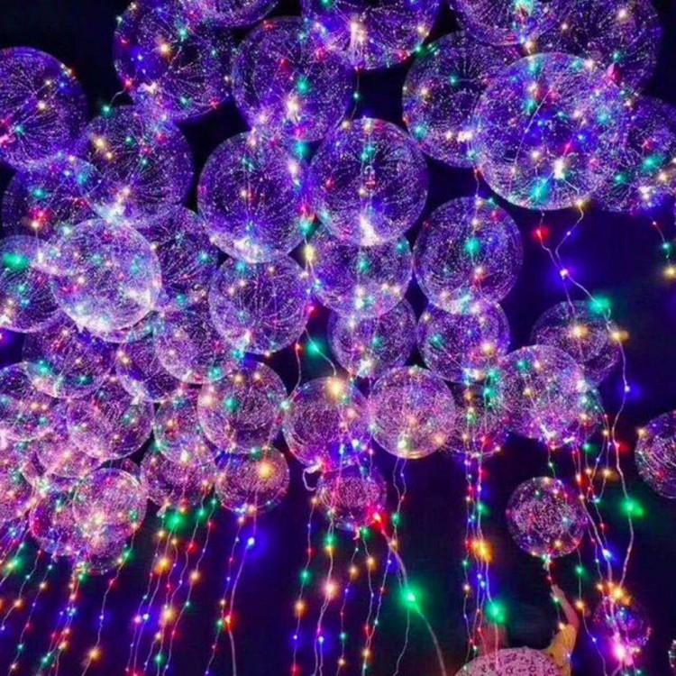18inc Işıklı Şeffaf Jumbo Balon + 3 Metre Işık + 3 Adet Pil