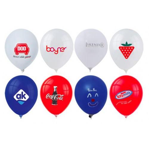 1000 Adet Baskılı Balon: Logo: 2 Renk + Baskı : Tek Taraf  + Balon istenilen Renk (2+0)