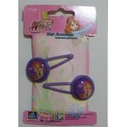1 Paket 2 Adet Mor Winx Flora Kız Tokası, Saç Aksesuarı