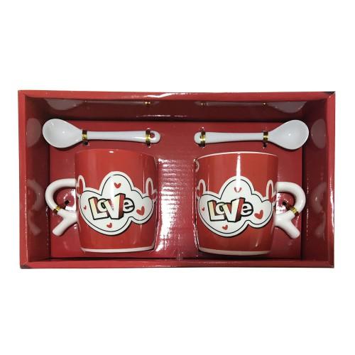2 li Love Yazılı Sevgili Kupası, Sevgiliye Hediye Kahve Kupaları