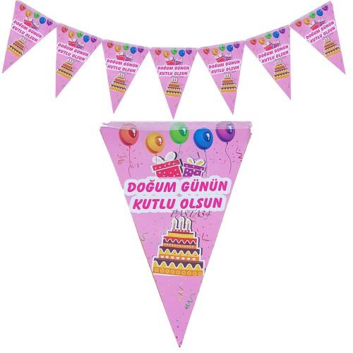 2 m Pembe Bayraklı Doğum Günün Kutlu Olsun Flama, Parti Malzemesi