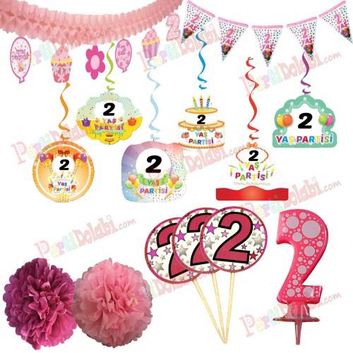 2 Yaş Kız Doğum Günü Partisi Süslemeleri Seti