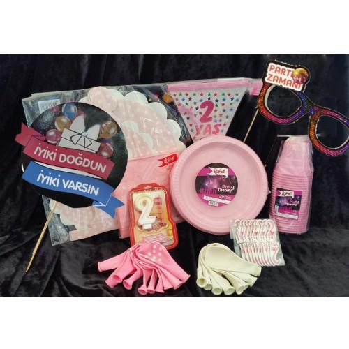 20 Kişilik Pembe 2 Yaş Kız Doğum Günü Parti Malzemeleri Seti Süsleri