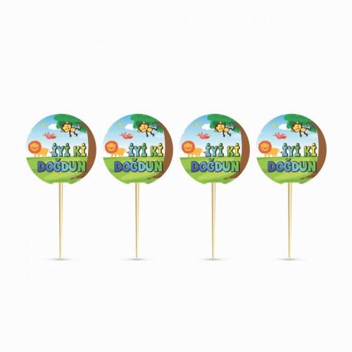 20 Ad Safari Orman Temalı Parti Kürdanı, Cupcake Sunum Kürdanları