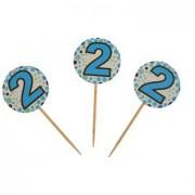 20 Adet 2 Yaş Sunum Kürdanı Erkek Doğum Günü Parti Malzemesi .