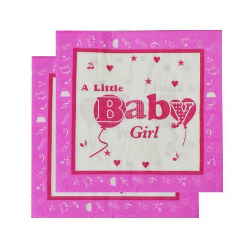 20 Adet Baby Shower Peçete Pembe Kız